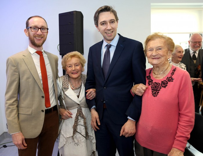 Kilian McGreal with his Mother Eileen McGreal, Mother in Law Josephine Horgan and Minister Simon Harris