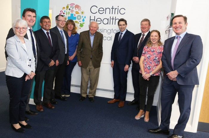 Minister Simon Harris with the staff from Centric Health